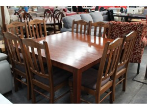 9 PIECE DINING SETTING - TIMBER CHAIRS