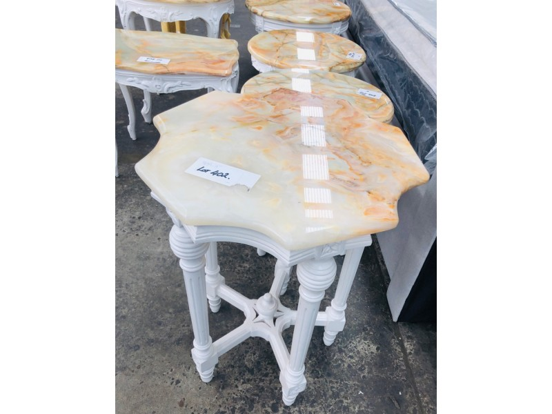 ASSORTED MARBLE SIDE TABLES