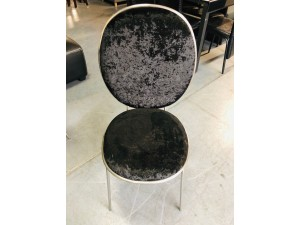 CEYLON VELVET BLACK DINING CHAIR WITH CHROME FRAME (2PCS/CTN) RRP $190
