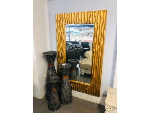 RECTANGLE GOLD WAVE FRAME MIRROR 150 X 100CM
