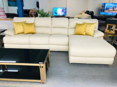RAWSON VILLA PEARL LEATHER 3 SEATER LOUNGE WITH CHAISE (RRP$3950) #008-14-10-20