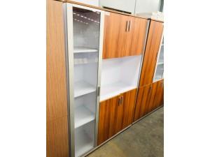 SIGNATURE RANGE BOOKCASE (CHERRY/WHITE) 1800HX1200WX400D 1 GLASS DOOR & 4 SOLID HINGED DOORS + OPEN SHELF #CB079
