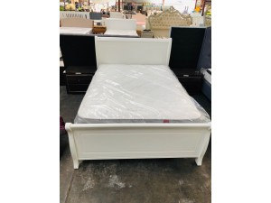 PARIS DOUBLE WHITE SLEIGH BED - FACTORY SECOND