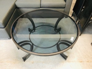 MONACO ROUND BLACK GLASS TOP COFFEE TABLE