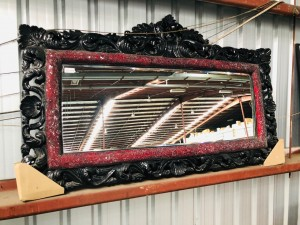 ORNATE MIRROR - MOSAIC RED GLASS - LARGE