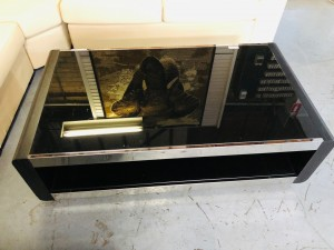 BLACK COFFEE TABLE WITH GLASS INSERT - SOME SCRATCHG SOLD AS IS
