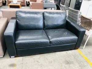 BLACK LEATHER 2 SEATER LOUNGE - FACTORY SECOND SOLD AS IS