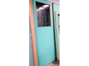 SOLID ENTRANCE DOOR 820X2340X40MM - SINGLE CLEAR GLASS PANEL