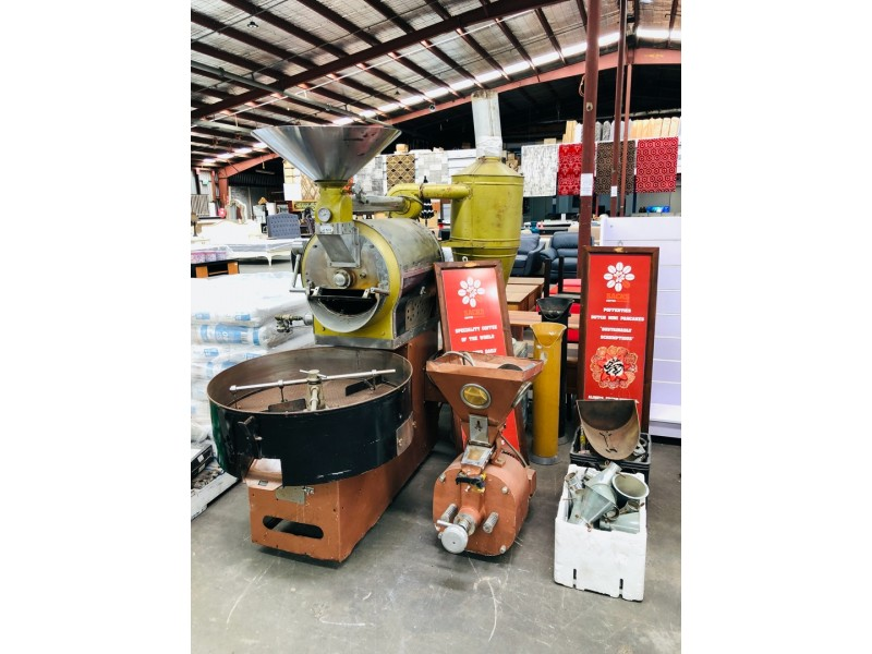 NATURAL GAS 3 PHASE 15KG COFFEE BEAN ROASTER MACHINE + FITTINGS - REMOVED IN GOOD WORKING ORDER