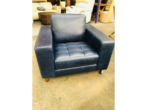 PREMIUM NAVY BLUE LEATHER LOUNGE CHAIR #F5 - FACTORY SECOND (009-12-06-20)