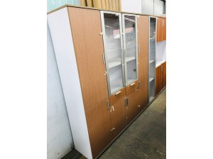COMBINATION OFFICE BOOKCASE - 6 SOLID, 2 GLASS HINGED DOORS - OAK #CB075