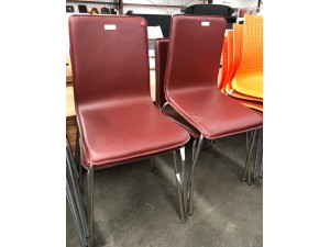 DINING CHAIRS - PVC PURPLE/RED WITH S/S LEGS #SL52-673PR