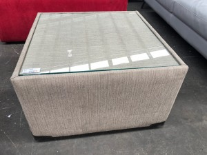 SMALL BEIGE FABRIC COFFEE TABLE WITH GLASS TOP