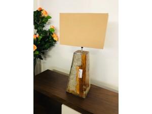 TEAK WOOD RESIN LAMP WITH CREAM SHADE 14X14X52CM