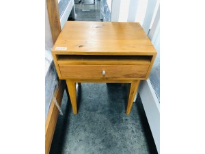 SOLID TIMBER BEDSIDE TABLES X 2 (ONE TABLE HAS A BROKEN LEG) SOLD AS IS