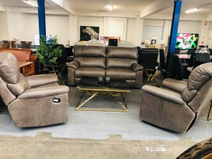 GREY LEATHER LOUNGE SUITE 2.5 SEATER PLUS 2 SINGLE RECLINERS - SCOTLAND STEEL #F12 - FACTORY SECOND (013-12-06-20)