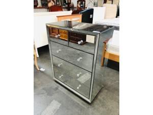 ALISON MIRRORED 5 DRAWER TALLBOY - (CRACKED AT TOP) ALL FACTORY SECOND (SOLD AS IS)