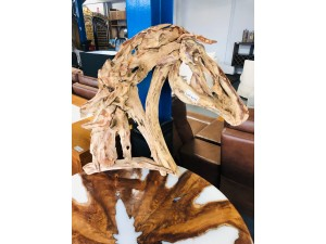 NATURAL WOOD HORSE HEAD FOR WALL 10X80CM