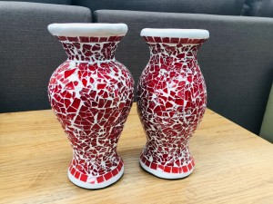 SET OF 2 SMALL MOSAIC VASES - ASSORTED COLOURS
