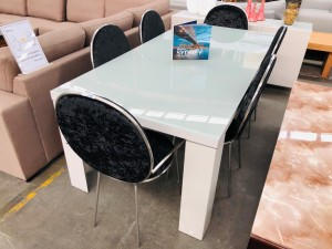BYRON GLASS TOP DINING TABLE 602 EXSHOW