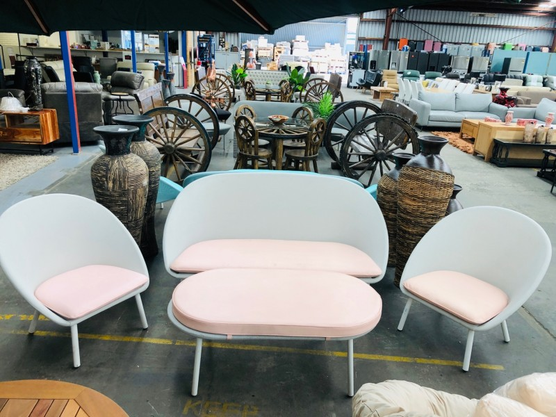 GREY OUTDOOR SETTING 3 +1 + 1 + OTTOMAN WITH PINK CUSHION - SOLD AS IS
