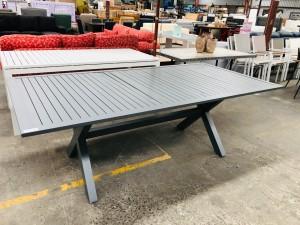 GREY ALUMINIUM OUTDOOR TABLE 2220 X 1100 - DAMAGED TOP BENT/CRACKED