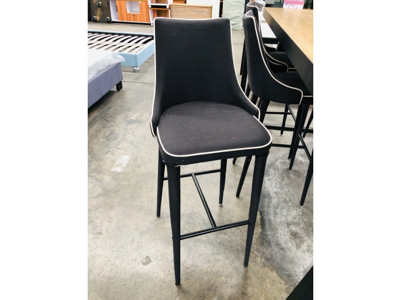 BAR STOOLS IN FABRIC BLACK/WHITE TRIM SOLD AS IS