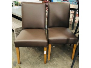 DOMO 2 X LEATHER VILLA CHOCOLATE DINING CHAIRS