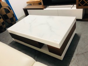 COFFEE TABLE WITH DRAWERS - BROWN & WHITE