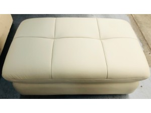 DYLAN LEATHER VILLA OYSTER OTTOMAN