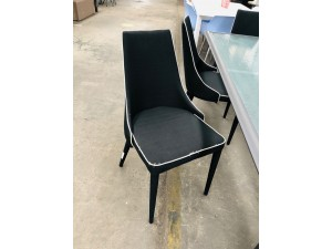DINING CHAIR IN FABRIC BLACK/WHITE TRIM - SOLD AS IS