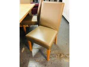 DOMO GENUINE FULL LEATHER VILLA PUTTY 7 X DINING CHAIRS