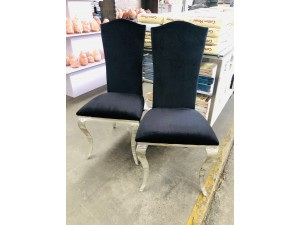 BLACK VELVET LOOK CHAIR WITH CHROME LEGS - Sold Separately