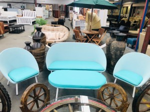 LIGHT BLUE OUTDOOR SETTING 3 +1 + 1 + OTTOMAN WITH GREEN CUSHION - SOLD AS IS