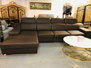 BROWN B/LEATHER CORNER LOUNGE WITH CHAISE
