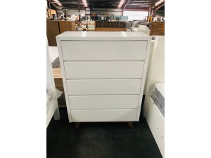 ASPEN WHITE 5 DRAWER TALLBOY