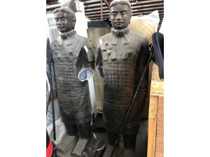 ARMOURED FIBREGLASS WARRIOR STATUE - SOLD AS A PAIR - BOTH ARM NEED MENDING