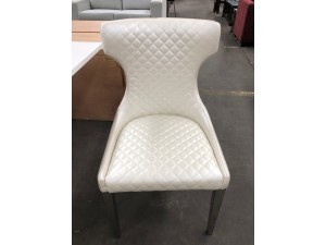 LUCENA DINING CHAIR (C193) WHITE PU WITH SILVER LEG - SOLD AS A LOT QTY OF 6