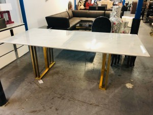 GRACE 2.2M WHITE MARBLE DINING TABLE - MINOR CRACK ON TABLE TOP - SOLD AS IS