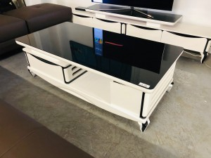 BLACK AND WHITE GLOSS COFFEE TABLE WITH 1 DRAW