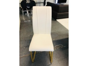 CASTILLO WHITE DINING CHAIR WITH GOLD FRAME