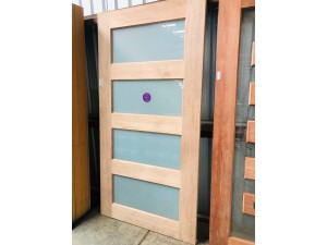 SOLID TIMBER WNTRY DOOR BEECH WITH FROSTED GLASS INSERTS