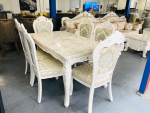 French Provincial Style Ornate White Marble Dinning Table with 6 Fabric Chairs