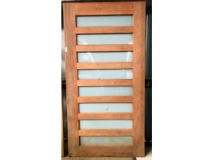 SOLID TIMBER ENTRY DOOR WITH FROSTED GLASS INSERTS