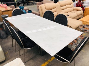 CASTILLO 2.2M MARBLE DINING TABLE (RRP$2500) (HC-8246)