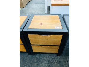 ETON 2 DRAWER BEDSIDE TABLE BLACK/NATURAL - FACTORY SECOND