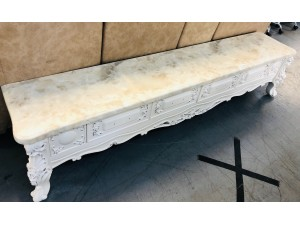 ORNATE 2M MARBLE TOP TV STAND