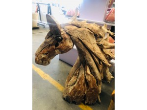 NATURAL COLOUR TIMBER DRIFTWOOD FULL HORSE HEAD 85X45X110CM