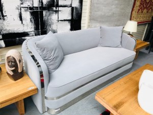 VILONE THREE (3) SEATER GREY VELVET FEEL LOUNGE WITH SILVER TRIMS