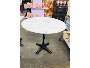 ROUND WHITE MARBLE TOP TABLE INDOOR/OUTDOOR -90CM DIAMETER